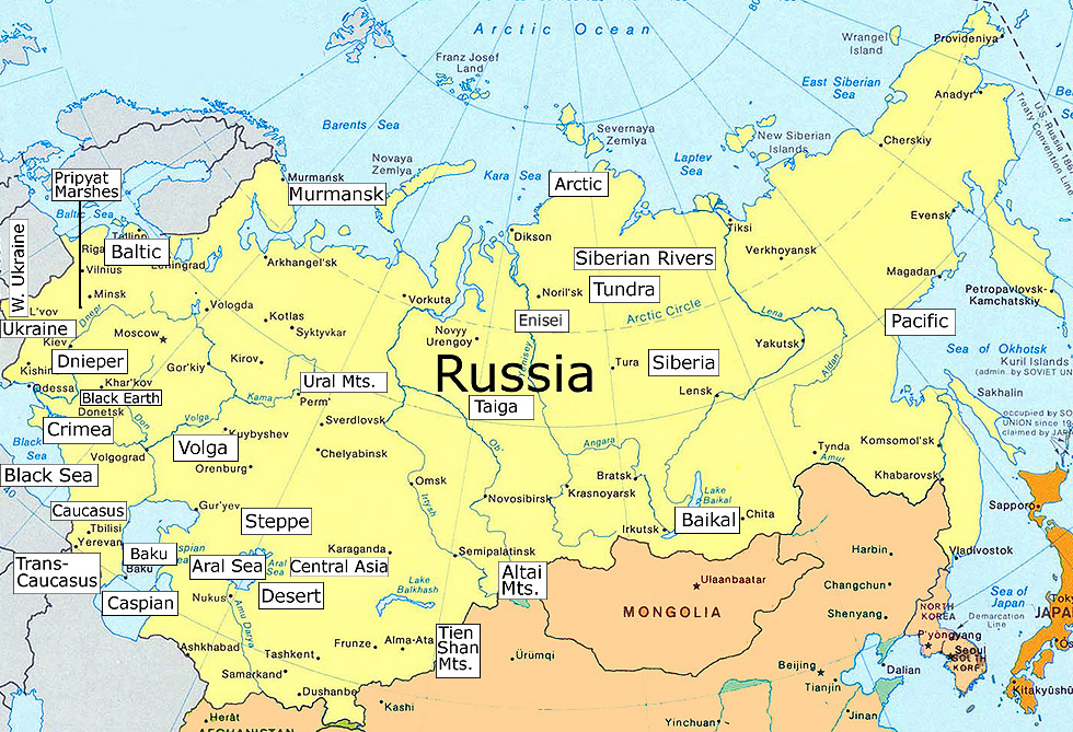 Clickable Map of the Geography of Russia
