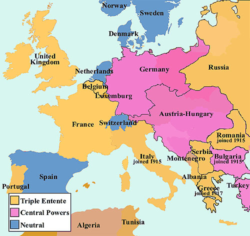 Map of Europe in 1914.
